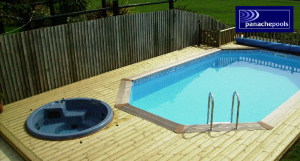Premium Wooden Pool with Hot Tub
