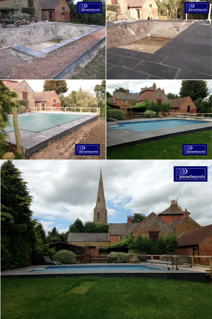 Swimming pool before and after refurbishment