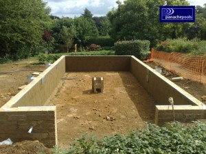 Block and liner swimming pool.
