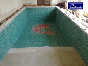 Mosaic tiled pool.