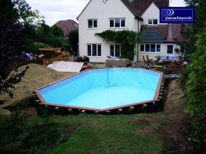 Wooden pool build.